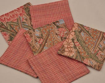 Free Shipping Eco 6 Coasters Pink Cotton Plaid Upcycled Recycled Fabrics Reversible Square