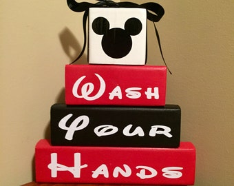 Mickey Mouse Minnie Mouse Wash Your Hands Wood Block Bath Set Home Decor  Bathroom Wood Sign Childrenu0027s Bathroom