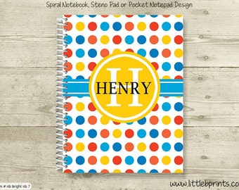 Blue Red & Yellow Polka Dots Monogram Personalized Spiral Notebook Back to School Notebook