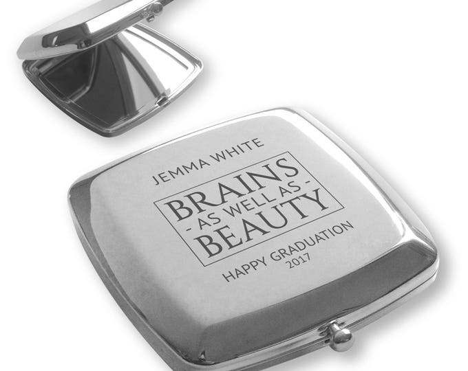 Personalised engraved SILVER PLATED compact mirror GRADUATION gift idea - Brains as well as beauty - GRA1