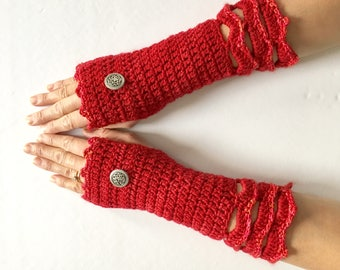 Elegant Lace Red Arm Warmer with sparkle trim at the bottom lace edge, Perfect for Christmas, woman's hand warmers, gift for her, red