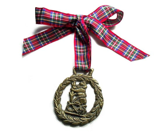 Vintage Brass Bear Horse Brass with Red Tartan Ribbon