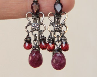 Sterling silver garnet earrings ruby earrings earrings artisan jewelry artisan earrings gemston earrings one of a kind earrings