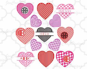 Valentine svg Frames, Hearts svg, valentine monogram svg Heart Monogram SVG, valentine hearts Cut Files, SVG Eps Png Dxf, Cricut, Silhouette