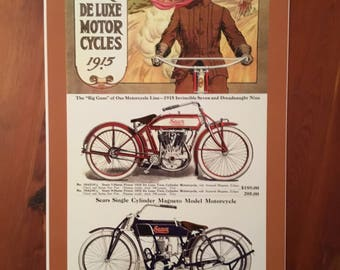 Vintage Sears Deluxe Motorcycle reproduction poster