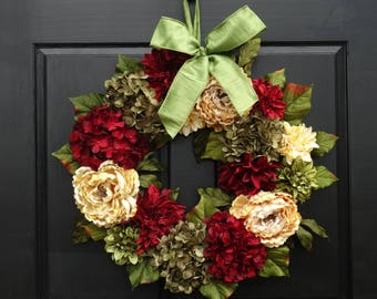 Large Faux Floral Christmas Wreath with Peonies, Dahlias and Hydrangeas for Holiday Front Door Decor; Burgundy Red, Cream and Green; 24 Inch
