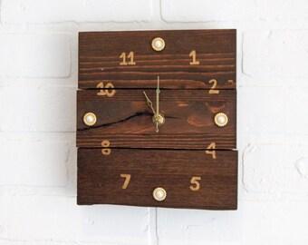 Small Wooden Clock, Customizable Clock, Modern Clock, Modern Rustic Clock,  Dark Wood
