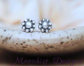 Tiny Stud Earrings - Sterling Silver Flower Stud Earrings - Girls Studs - Simple Studs - Tiny Earrings- Tiny Studs- Minimalist Post Earrings