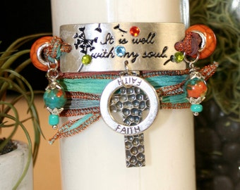 """handmade """"It is well with my soul!"""" 5 way silk wrap bracelet, necklace, choker, anklet, boot charm; Christian, religious, faith, festival"""