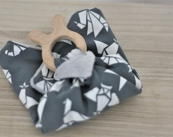 Teething/grip for baby grey origami blanket