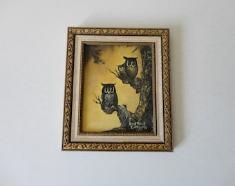 VINTAGE 1972 original OWL PAINTING - artist signed and dated - alverna gibson 1972 - instant owl art - small framed painting