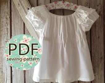 Sweet Cheeks - Peasant Top Pattern PDF. Girl's Sewing Pattern. Girl's Top Pattern. Toddler Top Pattern sizes 1-10