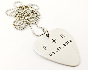 Personalized Hand Stamped Guitar Pick Couples Necklace - Custom Mens Jewelry - Stainless Steel - Anniversary Date with Initials Gift