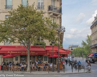 Paris Photography, Paris Print, Paris Decor, Parisian cafe with classic red awning; Ile St Louis