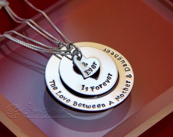 Grandma Mother Daughter Necklace Set-Three Generations-The Love Between Mother & Daughter is Forever and Ever