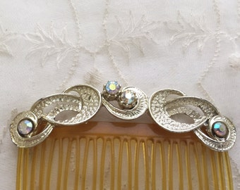 Vintage Hair Comb Silver with Crystals Wedding Hair Jewelry