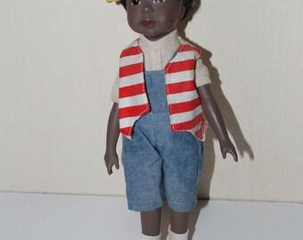 """Sandy Dolls 1995 African American Black Boy Doll 11"""""""