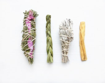 Restoration + Purification Smudge Kit// Cedar Rose//White Sage Smudge Stick//Palo Santo Wood//Sweetgrass//New home//House-warming gift