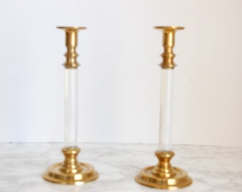 Vintage Lucite and Brass Candlesticks - Lucite Brass Candle Holders - Hollywood Regency Decor