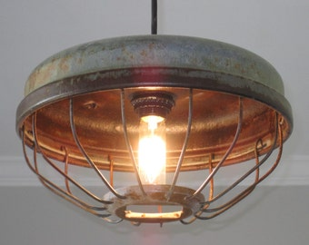 Industrial Chicken Feeder Pendant Lighting  Vintage, Kitchen Lighting,  Industrial Lighting, Farmhouse Lighting