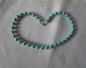 Nice Retro Turquoise Blue Faux Pearl Necklace
