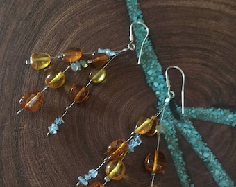 Amber earrings, amber and aquamarine sterling silver earrings, baltic amber earrings