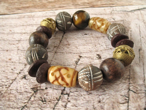 Chunky Bead Bracelet in Brown with Jade, Polymer Clay, Tiger Eye, Wood, and African Brass African Lost Wax Casting Beads, Stretch Bracelet