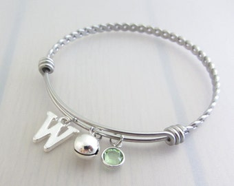 Bell Charm Stainless Steel Bangle, Birthstone Initial Bangle, Personalised Silver Letter Charm Bracelet, Gift For Music Lover
