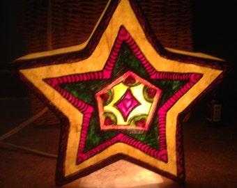"Hand Painted Bohemian Yellow Star Night Light  10""Wx9.5""Hx4"" D  X0067"