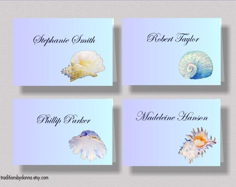 BEACH WEDDING PLACECARDS Escort Cards   Beautiful Seashell Escort Cards for Oceanside Wedding   Personalized Watercolor Seashell Place Cards