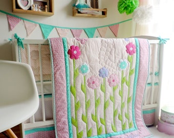 Nursery Bedding Set Girl - Floral Crib Bedding - Floral Girl Quilt - Toddler Girl Bedding - Toddler Quilt - Floral Crib Bumper - Pink Mint