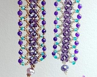 2 SIZES: Lacey Cuff Bracelet with Amethyst Gemstones