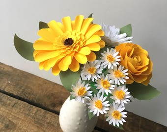 White and Yellow Paper Flower Bouquet - Yellow Gerbera Daisy - Wildflowers - Paper Flowers - Roses - Mums
