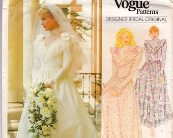 Vintage '80s Wedding Gown and Veil Sewing Pattern, Vogue 2858, Size 12, Uncut, Designer Bridal Original by Bellville Sassoon