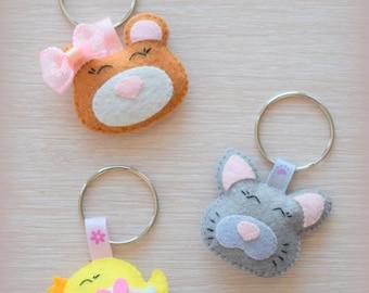 Keychain, Brooch, Baby hair accessories, Kitten, Bear, Chicken, Felt ornament, Gift