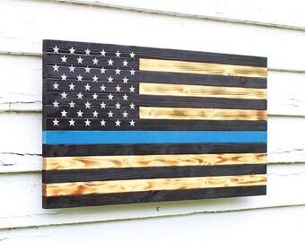 Thin Blue Line Flag, Wood Flag, Police Officer Flag, Wooden Flag, Burnt Wood Flag, American Flag, Police Flag, Charred Wood Flag, Rustic