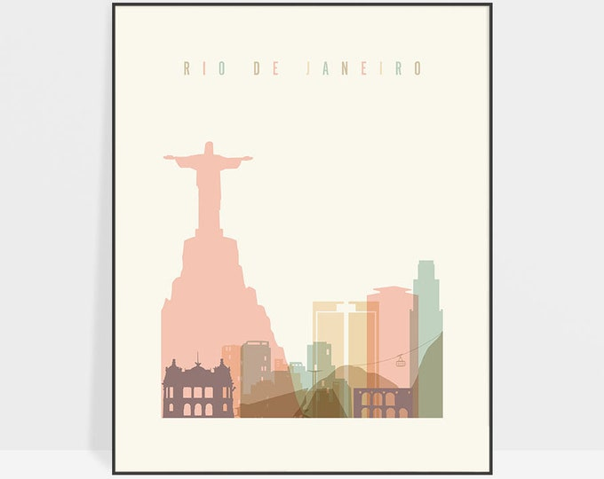 Rio De Janeiro art print, Poster, Travel Wall art, Rio De Janeiro Brazil skyline, City poster, Typography art, Home Decor,  ArtPrintsVicky