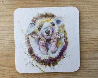 Designer Prickles Pigmy Baby  Hedgehog   Coaster by Nicola Jane Rowles made in UK from original watercolour hare art