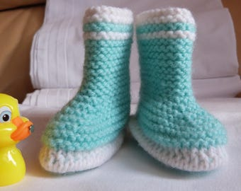 Small hand knitted booties