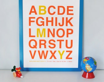 Alphabet print with your choice of colors and highlighted letters in Helvetica, CUSTOM, LARGE