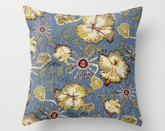 Floral art pillow, hibiscus flower art, gray home decor, grey and mustard flower pillow, cottage sofa pillow, floral home accessories