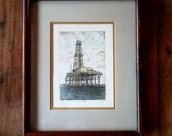 John Collette Watercolor Etching, Original Painting, John Collette,  Original Painting