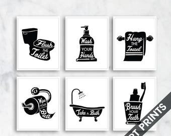 Bath Rules - set of 6 - Art Print (Featured in Black and White) Instructional Bathroom Signs