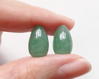 Green Aventurine Half Top Drilled Teardrops 8x13 mm One Pair J6983