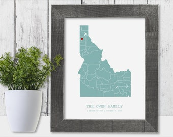 11th Anniversary Gift for Men 11 Year for Women Present Idea Him Her Gift Wife Husband Wedding Anniversary Personalized Couple Map State