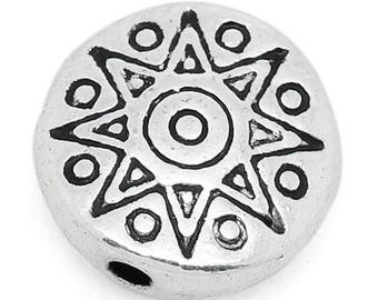 10 pcs Antique Silver Star Sun Disk Spacer Charm Beads - 10mm - Hole Size: 1.4mm