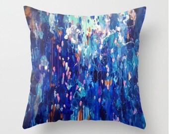 Abstract no.89 - abstract art Throw Pillow case / decorative cushion cover. Cobalt blue, ultramarine, Aqua, dust pink from my own original