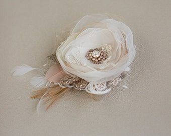 Bridal headpiece, Rose Gold hair flower, Bridal hairpiece, Flower hair piece, Wedding hair clip, Champagne hair flower, Wedding headpiece