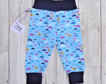 0-3 months baby leggings / toddler trousers. Organic cotton soft jersey cuffs. Blue Sea trousers.