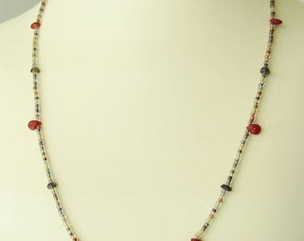 red ruby and iolite multi-color seed bead minimalist necklace - 18.5 inches